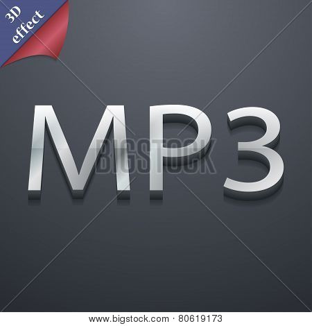 Mp3 Music Format Icon Symbol. 3D Style. Trendy, Modern Design With Space For Your Text Vector