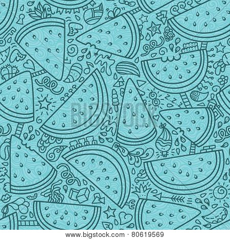 Watermelon pattern outlines ornate