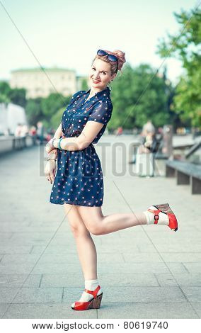 Beautiful Young Girl In Fifties Style With Braces