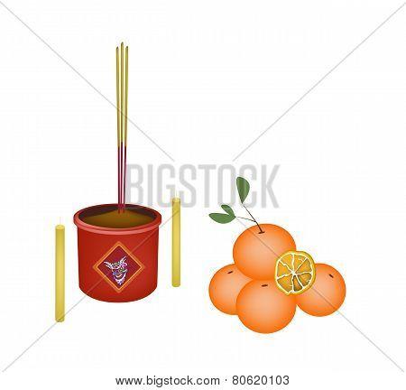 Ripe Orange Fruits for New Year Worship