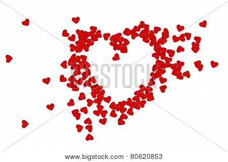 Greeting Card Valentines Day  Paper Hearts On A White Background