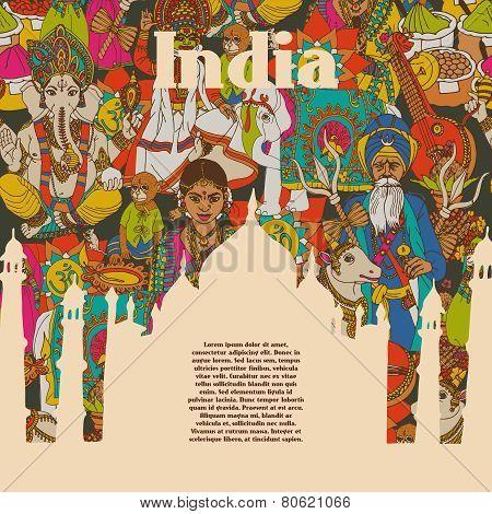 India cultural symbols patterns poster