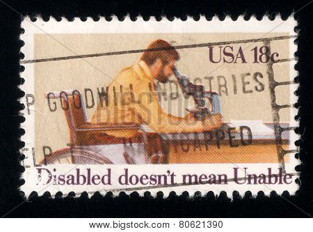 Paraplegic Researcher, Int. Year Of The Disabled. Usa Stamp 1981