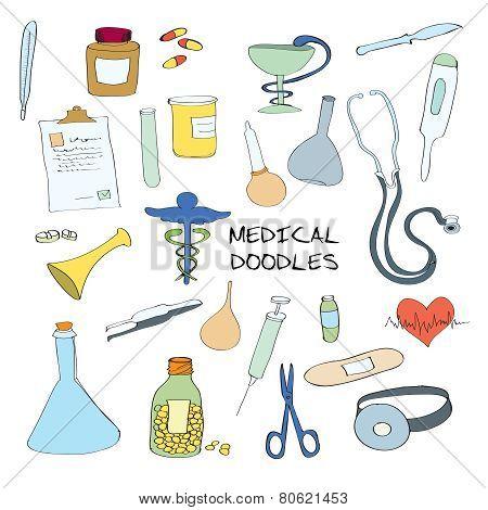 Medical symbols emblems doodle set