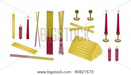 Set of Joss Sticks and Candle for Make Merit