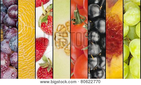 Collage Of Seasonal Summer Fruits