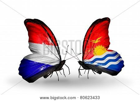 Two Butterflies With Flags On Wings As Symbol Of Relations Holland And Kiribati