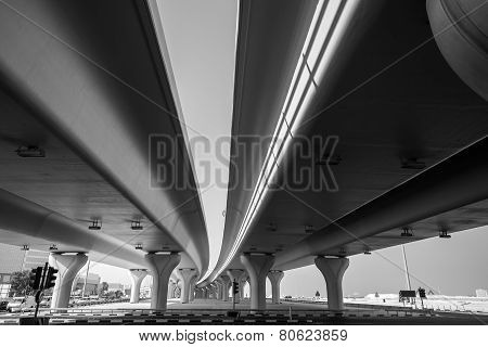 Urban Highway Under Automotive Bridges