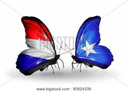 Two Butterflies With Flags On Wings As Symbol Of Relations Holland And Somalia