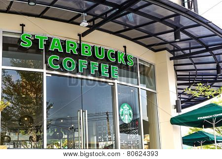 Bangkok, Thailand - January 19, 2015 : Starbucks Coffee Inside Shopping Mall