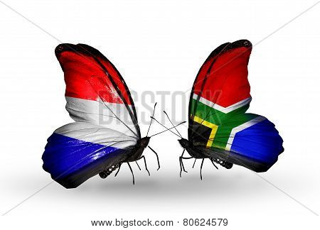 Two Butterflies With Flags On Wings As Symbol Of Relations Holland And South Africa