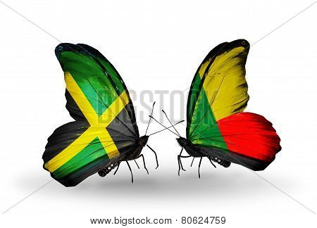 Two Butterflies With Flags On Wings As Symbol Of Relations Jamaica And  Benin
