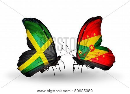 Two Butterflies With Flags On Wings As Symbol Of Relations Jamaica And Grenada