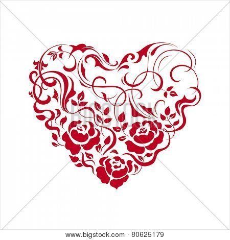 Floral heart shape on white. Vector illustration.