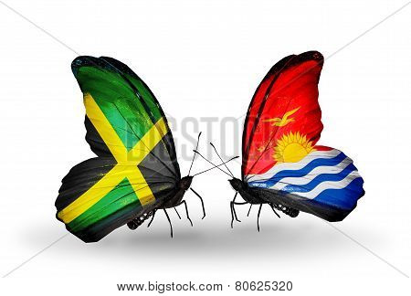 Two Butterflies With Flags On Wings As Symbol Of Relations Jamaica And Kiribati