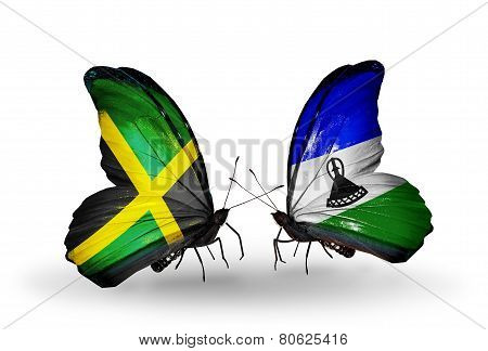 Two Butterflies With Flags On Wings As Symbol Of Relations Jamaica And Lesotho