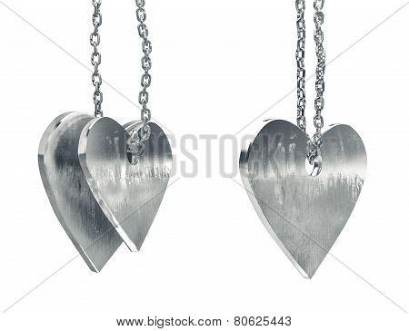 Scratched Metal Heart Pendants