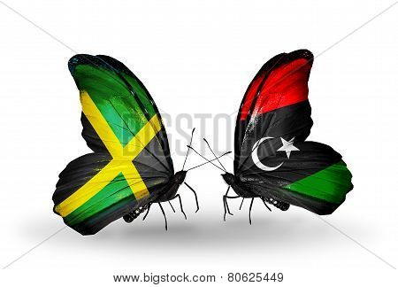 Two Butterflies With Flags On Wings As Symbol Of Relations Jamaica And Libya