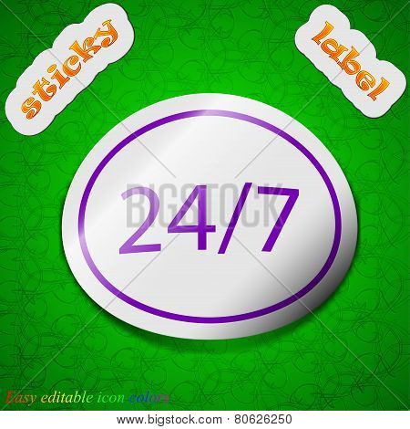 24 Hours A Day And 7 Days A Week Icon Sign. Symbol Chic Colored Sticky Label On Green Background. Ve
