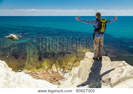 Man Enjoying Amazing Sea View