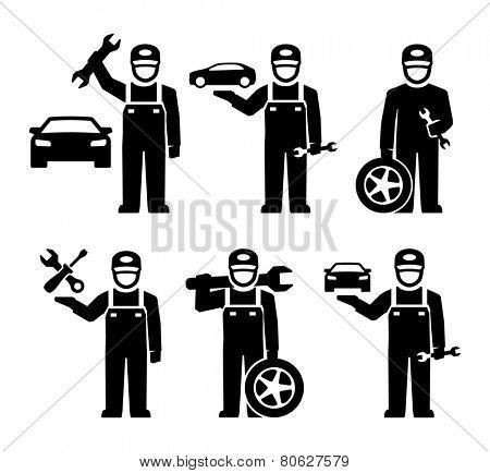 Car Mechanic Figure Pictogram Icons