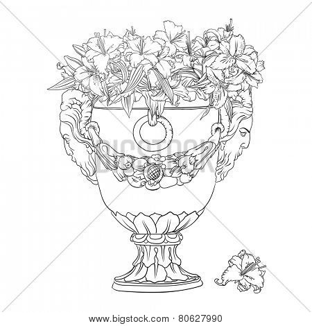 Outline drawing of big antique flowerpot full of white lilies.