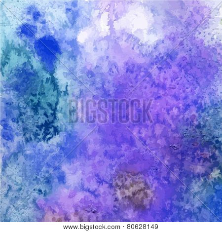 Abstract watercolor background. Painted paper. Bright color splashes in blue, purple. Grunge texture