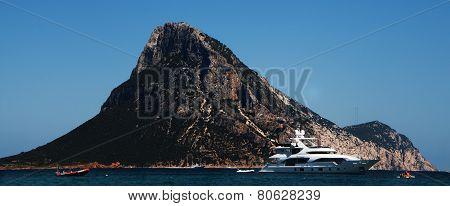 Landascape Sardinia Tavolara island in background