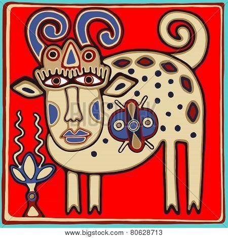 unusual Ukrainian traditional tribal art in karakoko style