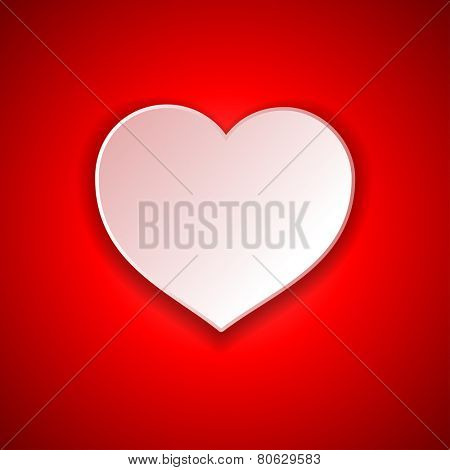 Beautiful red background on Valentine's Day white paper heart shape. Vector.