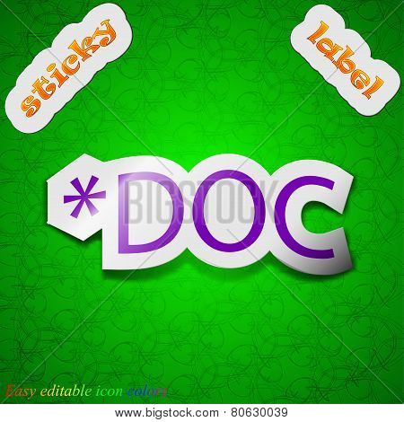 Doc File Extension Icon Sign. Symbol Chic Colored Sticky Label On Green Background. Vector