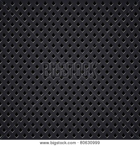Dark metal diamond perforated grill texture.