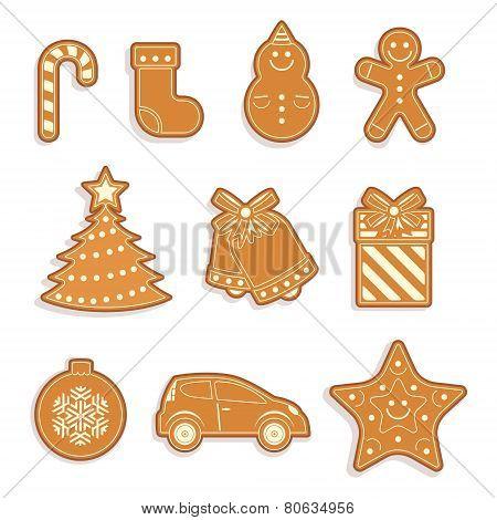 Set of Gingerbread cookies. Christmas cookies.