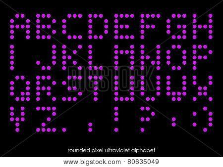 Rounded Flat Pixel Art Alphabet Font In Ultravioletl Color