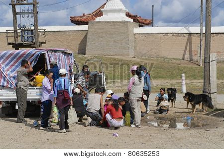 Mongolian people have picnic outside Erdene Zuu in Kharkhorin Mongolia.
