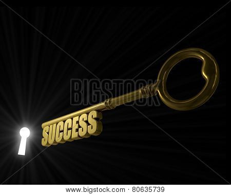 Key with word success pointed to the illuminated key hole concept image.