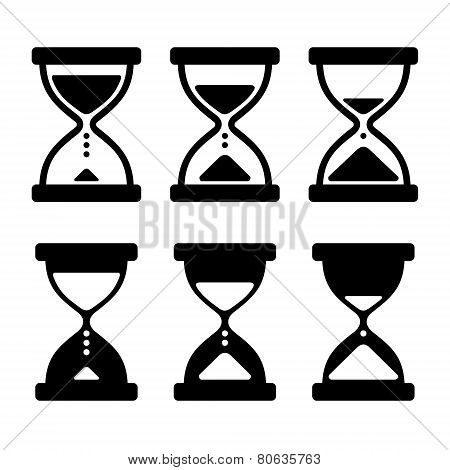 Sand Glass Clock Icons Set. Vector