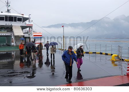 Tourist Takes Ferry To Miyajima, Japan