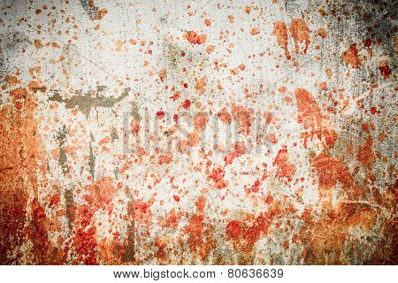 Concrete wall with blood splatters
