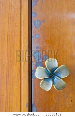 Dark Brown Wood Door With Knob
