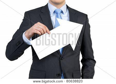 Businessman Holding Arrow