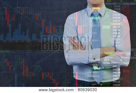 Businessman And Stock Chart