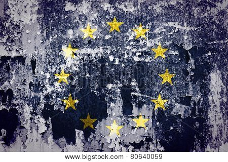 European Union flag on grunge wall