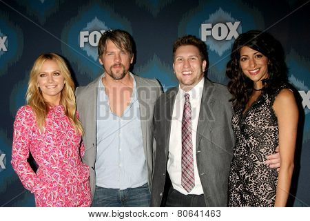 LOS ANGELES - JAN 17:  Becki Newton, Zachary Knighton, Nate Torrence, Meera Rohit Kumbhani at the FOX TCA Winter 2015 at a The Langham Huntington Hotel on January 17, 2015 in Pasadena, CA