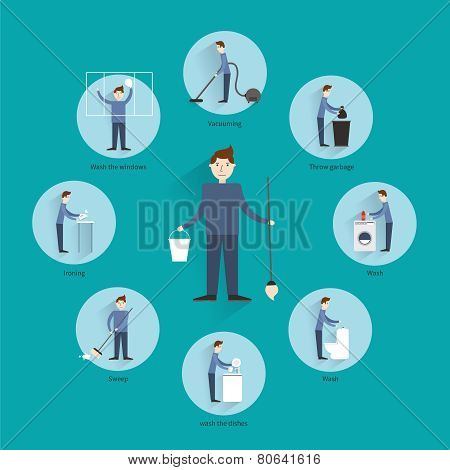 Cleaning people concept