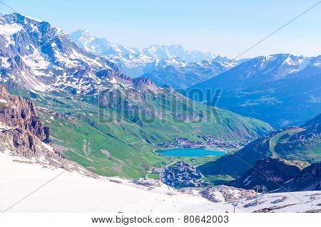 View from the Grande Motte glacier at Tignes, French Alps.