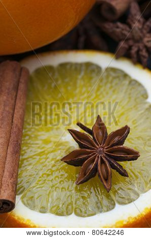 Star Anise On Orange Slice