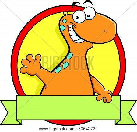 Cartoon brontosaurus dinosaur with a banner sign.