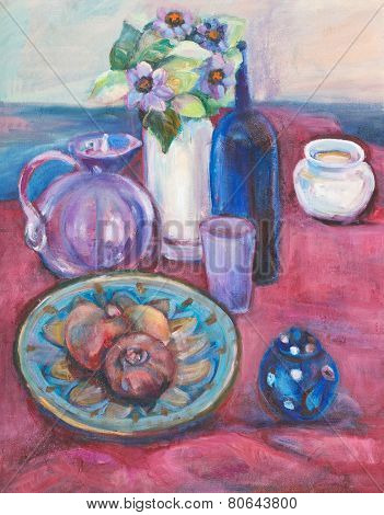 Still Life On Claret Cloth