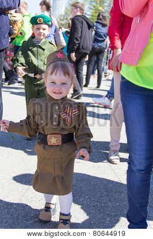 Russian Girl At The Parade On Annual Victory Day